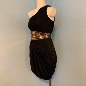 Bebe 1 Shoulder Sequin waist Trim black dress XS